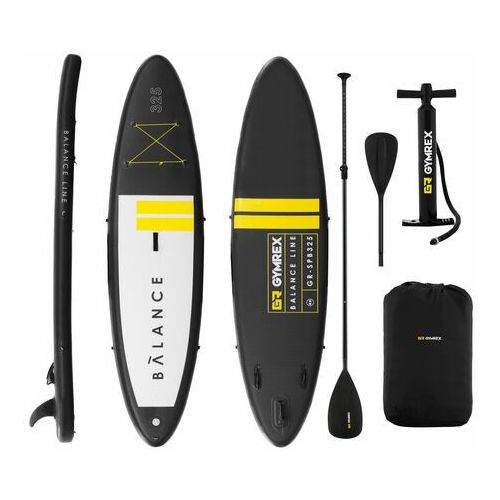 Pozostałe sporty wodne, Gymrex Deska SUP - dmuchana - Balance Line - czarna - 145 kg GR-SPB325