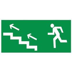 Znak Kierunek ewakuacji schodami w lewo w górę