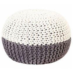 Biało-szara okrągła pufa bawełniana ręcznie pleciona - Iwor