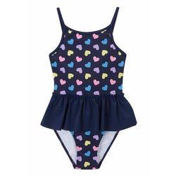 Kostium kąpielowy dziewczęcy bonprix niebieski z nadrukiem