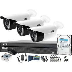 3x kamera po skrętce BCS-TQE3200IR3-B Rejestrator BCS-XVR0401-IV Dysk 1TB Monitoring