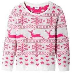Sweter bożonarodzeniowy bonprix biel wełny - ciemnoróżowy wzorzysty