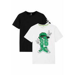 T-shirt chłopięcy z nadrukiem (2 szt.), bawełna organiczna bonprix czarny + biały