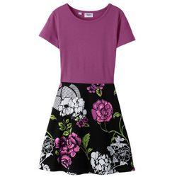 Sukienka shirtowa bonprix czarny - fiołkowy lila