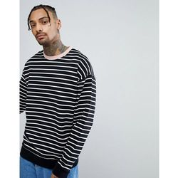 ASOS Striped Oversized Sweatshirt In Black & White With Contrast Ringer - Black