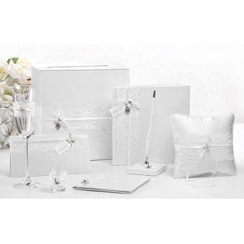 Pozostałe na ślub i wesele, Etui na pieniądze białe z białymi różyczkami - 1 szt.