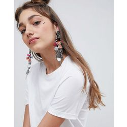 ASOS DESIGN Statement Woven Wrap Tassel And Coin Earrings - Silver