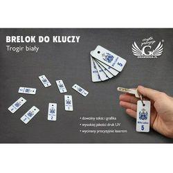 Brelok do kluczy - TROGIR biały z nadrukiem UV z Twoją dowolną grafiką