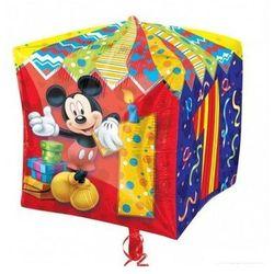 Balon foliowy Sześcian Myszka Mickey na roczek - 38 cm - 1 szt.