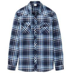 Koszula flanelowa z długim rękawem Regular Fit bonprix ciemnoniebieski w kratę