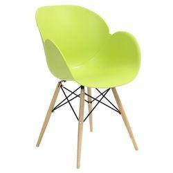 Fotel z drewnianymi nogami FLOWER DSW PREMIUM zielony - polipropylen, podstawa bukowa
