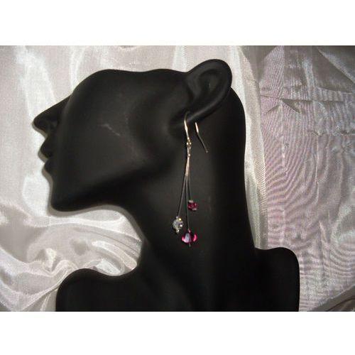 Kolczyki, K-00015 Kolczyki z kryształkami Swarovski - w kolorze fuksji