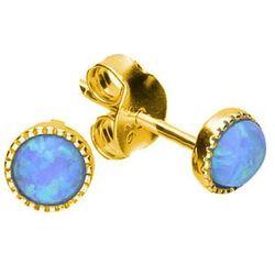 Delikatne okrągłe pozłacane srebrne kolczyki niebieski opal srebro 925 AE10270YG