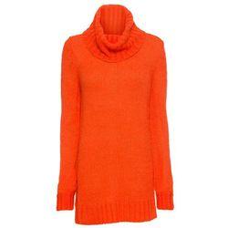 Sweter ze stójką bonprix pastelowy jasnoróżowy - złoty