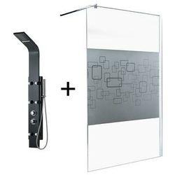 Zestaw prysznicowy 2 produkty: kabina prysznicowa PAULINA 140 cm + kolumna prysznicowa z hydromasażem EVANA czarna