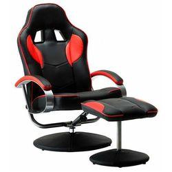Czarno-czerwony fotel rozkładany z podnóżkiem - Endy
