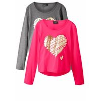 Bluzki dziecięce, Shirt dziewczęcy z długim rękawem (2 szt.) bonprix szary melanż - różowy hibiskus