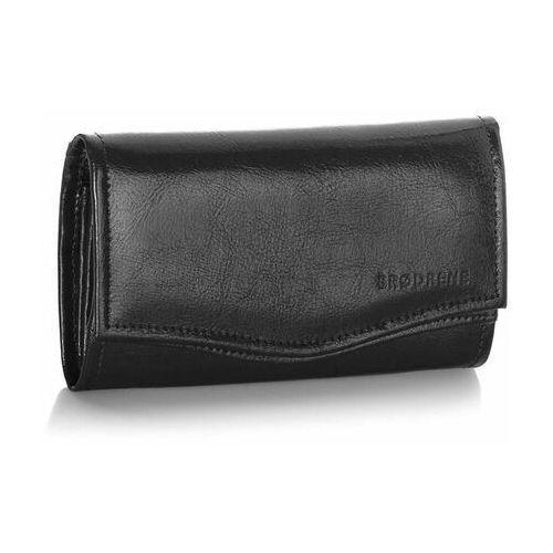 Portfele i portmonetki, Skórzany portfel damski brodrene czarny