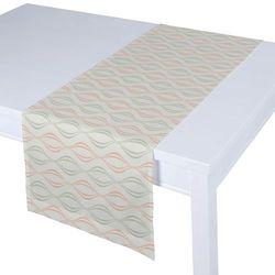 Dekoria Bieżnik prostokątny, szaro-łososiowe fale na białym tle, 40 × 130 cm, Geometric