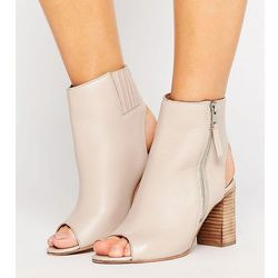 ASOS EARNEST Wide Fit Leather High Ankle Boots - Beige