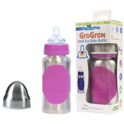 PACIFIC BABY Butelka ze smoczkiem GroGrow - 300 ml - Srebrno różowa