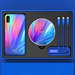 Nillkin Fancy Gift Set - zestaw podarunkowy etui + bezprzewodowa ładowarka Qi + kabel 3w1 (USB - micro USB/Lightning/USB-C) iPhone X niebieski