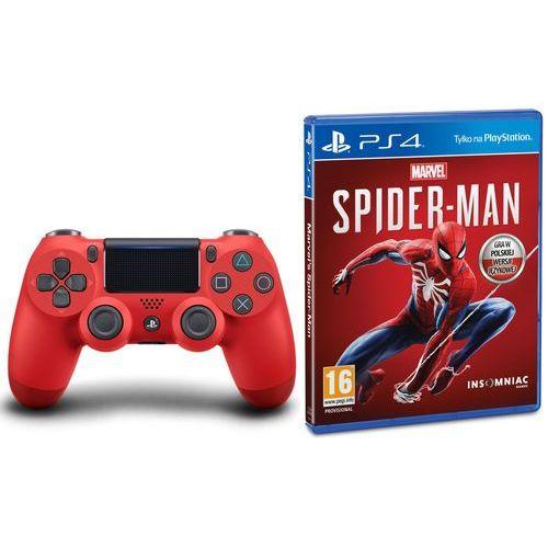 Gamepady, Sony DualShock 4 v2 (czerwony) + Marvel's Spider-Man