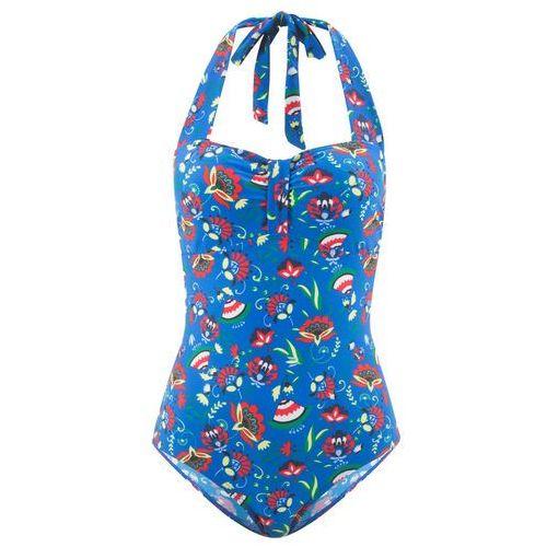 Stroje kąpielowe, Kostium kąpielowy bonprix niebieski z nadrukiem