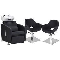 Zestaw Mebli Fryzjerskich - Myjnia Komfort Max + 2 Fotele Lore Kwadrat