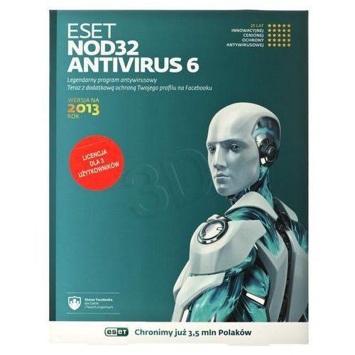 Oprogramowanie antywirusowe, ESET NOD32 Antivirus 2013 (3 st./1 rok) BOX Darmowy odbiór w 20 miastach!