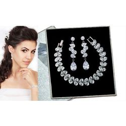 Kpl700 komplet ślubny, biżuteria ślubna z cyrkoniami b599/427 k686/12