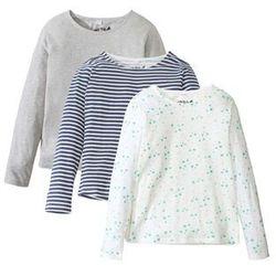 Shirt z długim rękawem (3 szt.) bonprix jasnoszary + biel wełny z nadrukiem + w paski