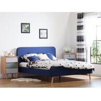 Łóżka, Łóżko tapicerowane granatowe ze stelażem 180 x 200 cm RENNES