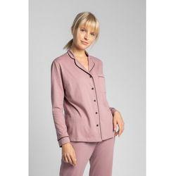 LA019 Bawełniana koszula od piżamy z kołnierzykiem - wrzosowy