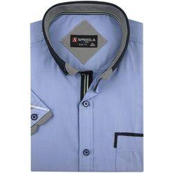 Koszula Męska Speed.A gładka niebieska SLIM FIT na krótki rękaw K647