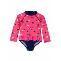 Stroje kąpielowe dla dzieci, Kostium kąpielowy niemowlęcy z falbanką bonprix różowo-niebieski z nadrukiem