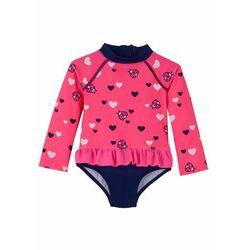Kostium kąpielowy niemowlęcy z falbanką bonprix różowo-niebieski z nadrukiem