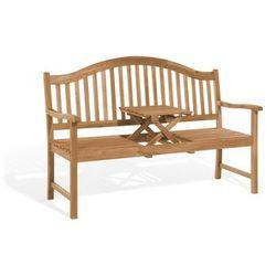 Ławka ogrodowa ciemne drewno z rozkładanym stolikiem - HILO
