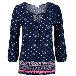 Tunika shirtowa z nadrukiem, rękawy 3/4 bonprix ciemnoniebieski