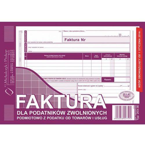 Druki akcydensowe, Faktura dla podat. zwol. podmiot. Michalczyk&Prokop 203-3E - A5 (oryginał+kopia)