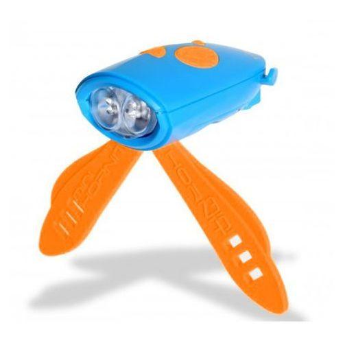 Oświetlenie rowerowe, Światełko i klakson na rower i hulajnogę niebieskie