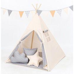 MAMO-TATO Namiot TIPI DUŻY Beż / mini gwiazdki białe na szarym