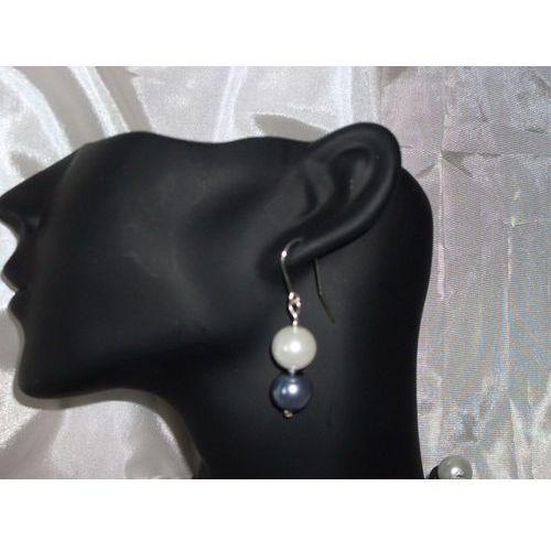 Kolczyki, K-00006 Kolczyki z perełek szklanych białych i popielatych rabat 25%