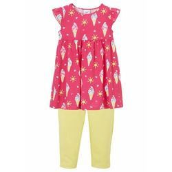 Sukienka dziewczęca + legginsy (2 części), bawełna organiczna bonprix różowy flaming - jasna limonka