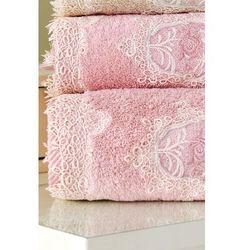 Ręcznik kąpielowy DESTAN 85x150cm z koronką Stary róż