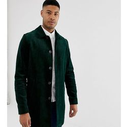 ASOS DESIGN Tall single breasted trench coat in cord in bottle green - Green