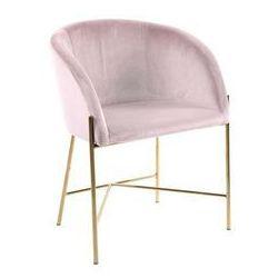 Fotel Nelson różowy/złota podstawa