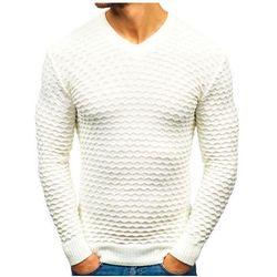 Sweter męski w serek ecru Denley 6005