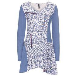 Tunika shirtowa bonprix niebieski dżins - pastelowy jasnoróżowy wzorzysty