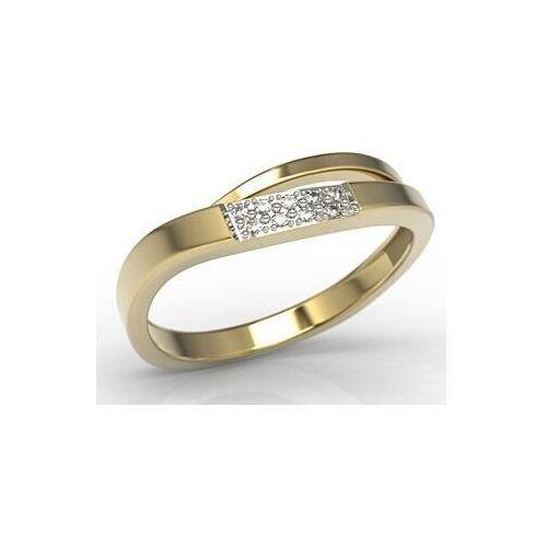 Pierścionki i obrączki, Pierścionek z żółtego złota z diamentami LP-97Z-R - Żółte z rodowaniem \ Diament